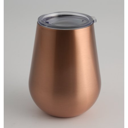 - 14-Ounce Brushed Copper Double Wall Stemless Wine, Set of 2