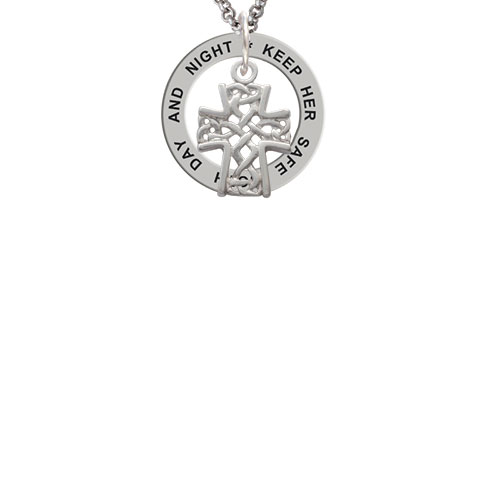 Criss Cross Patterned Cross Keep Her Safe Both Day And Night Affirmation Ring Necklace