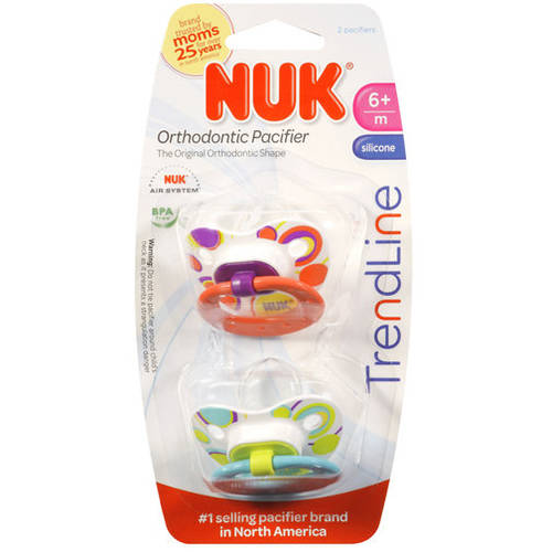 Nuk Trendline Orthodontic Pacifiers, 2ct, BPA-Free (Colors May Vary)