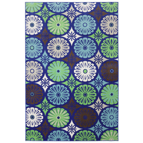 Mohawk Home Patio Woven Blue Penny Loafer Wildaster Indoor/Outdoor Area Rug