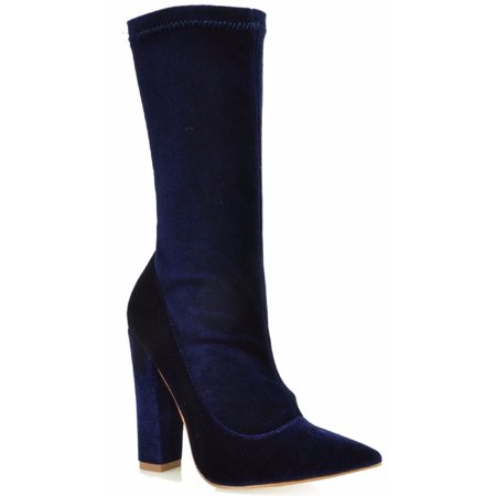 Zane Ankle High Stretchy Velvet Pointy Toe Block Chunky Heel Boot Bootie Blue