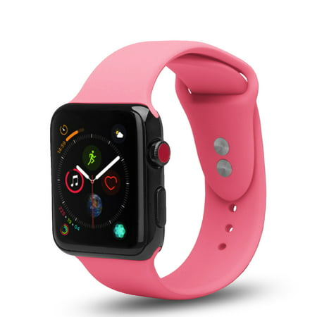 Apple Watch Series 1/2/3/4/Nike+ Soft Silicone Replacement Bands for 42mm/44mm, Dual Locking Secure Stud Wristband - Pink Dual Sim Quad Band