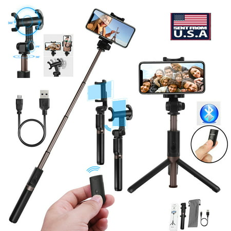 Extendable Selfie Stick Tripod Monopod with Bluetooth Romote Shutter Control 360° Clamp for iphone X 8 8 Plus 6 6s 7 Plus Android Samsung Galaxy Note 8 S7 S8 Plus S8 -