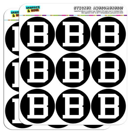 """Letter B Initial Black White 2"""" Scrapbooking Crafting Stickers"""