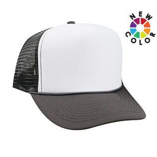 OTTO Polyester Foam Front 5 Panel High Crown Mesh Back Trucker Hat -  Ch.Gry Wht Ch.Gry 821f94a57a1