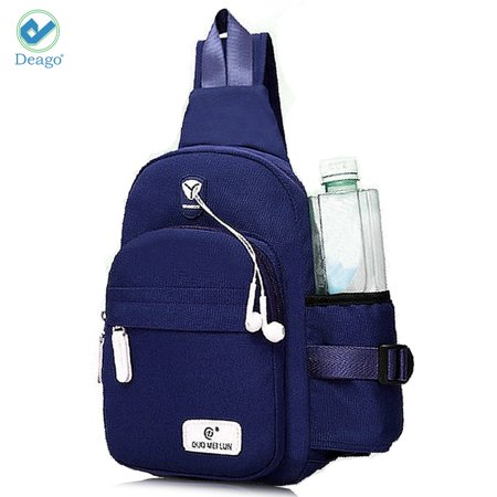 """Deago Canvas Sling Bag for Men & Women - Chest Shoulder Bag Unbalance Crossbody Backpack Water Resistant Daypack for Gym Travel Hiking (7.1"""" * 2.75"""" * 13.5"""", Blue)"""