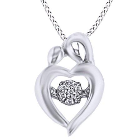 07d07699035e Jewel Zone US - Mom & Child White Natural Diamond Pendant ...