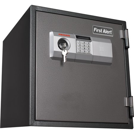 First Alert 1 2 Cu  Ft  Steel 1 Hour Fire And Anti Theft Safe With Combination And Key Lock  2084F Gray