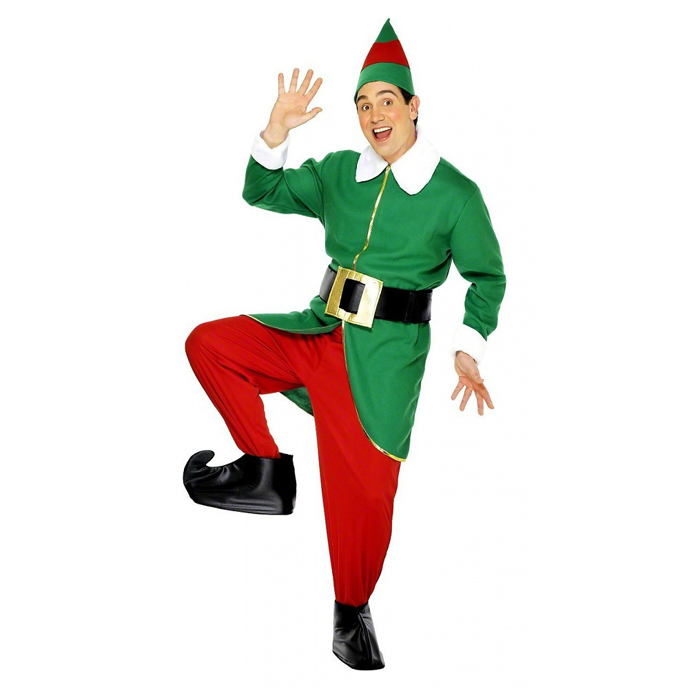 Green and Red Elf Adult Costume - Large