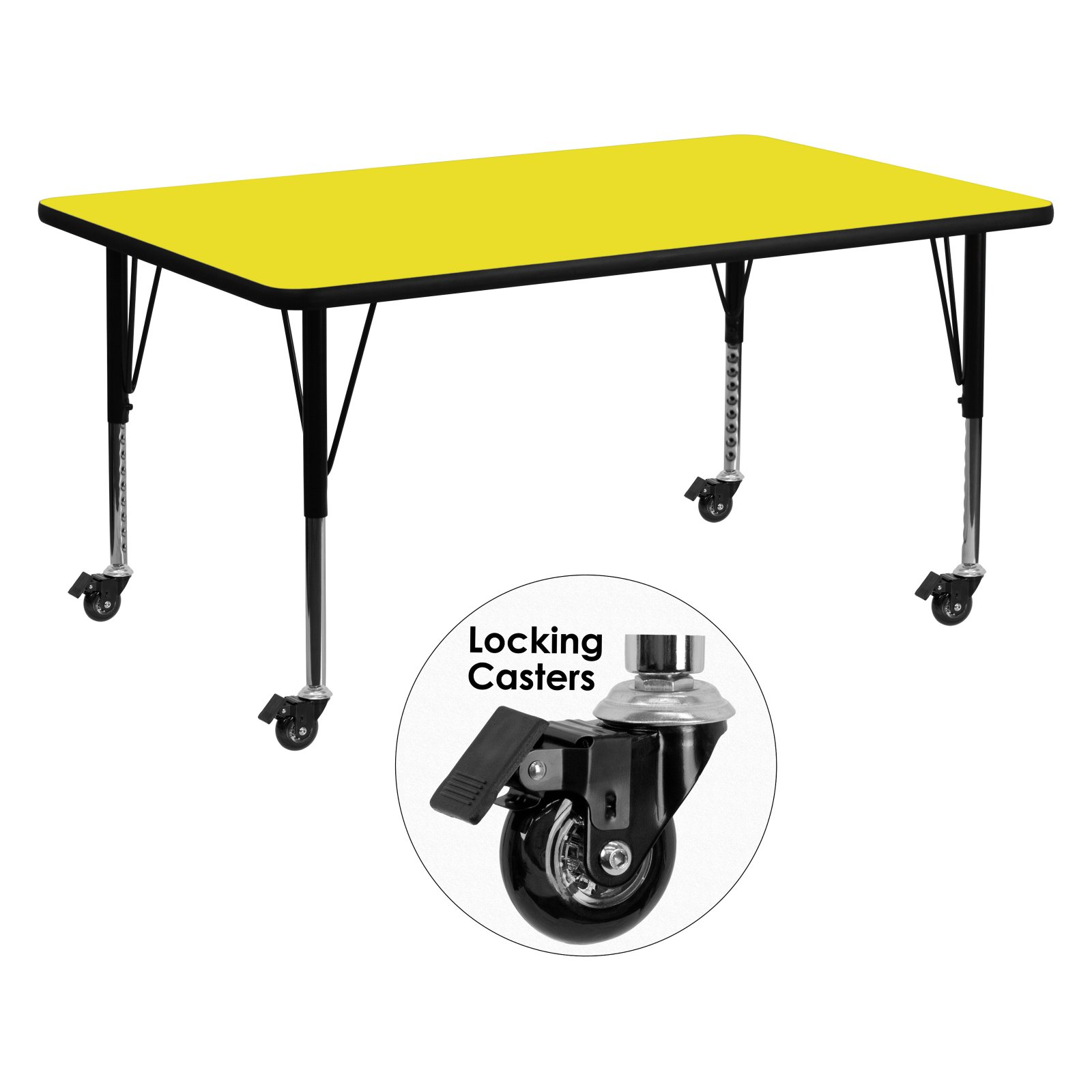 Flash Furniture Mobile 30''W x 72''L Rectangular Activity Table with 1.25'' Thick High Pressure Yellow Laminate Top and Height Adjustable Preschool Legs