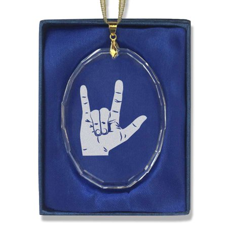 oval crystal christmas ornament sign language i love you
