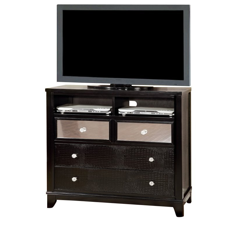 Furniture of America Lillianne Mirror Panel Media Chest in Black