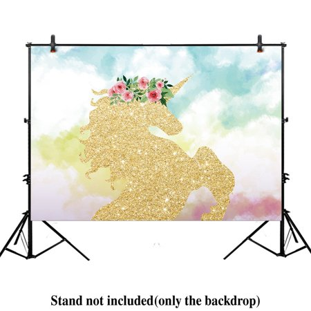 GreenDecor Polyster 7x5ft photography backdrop background watercloor Gold Glitter Unicorn cloud Birthday party banner Newborn props photo studio booth baby shower - Baby Shower Back Drop