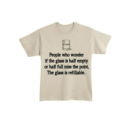 Unisex Adult Funny Half Empty Or Full Shirt - Sand -