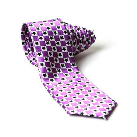 Purple and White Checkered with Black Stars Neck Tie - image 1 de 1