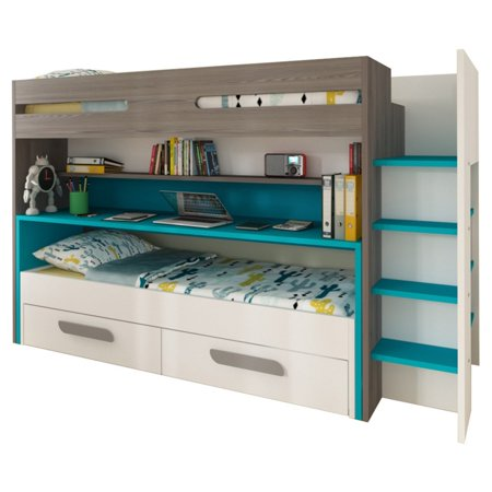 Parisot BO10 Twin Over Twin Bunk Bed with Desk and Drawers