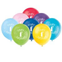 Latex Fun Happy 1st Birthday Balloons, Assorted, 12 in, 8ct