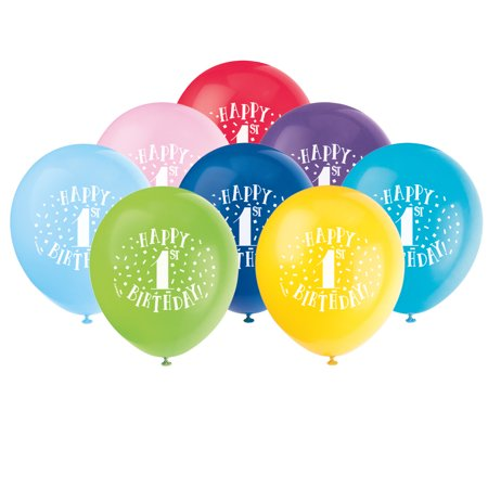 Latex Fun Happy 1st Birthday Balloons, Assorted, 12 in, 8ct - First Birthday Balloon