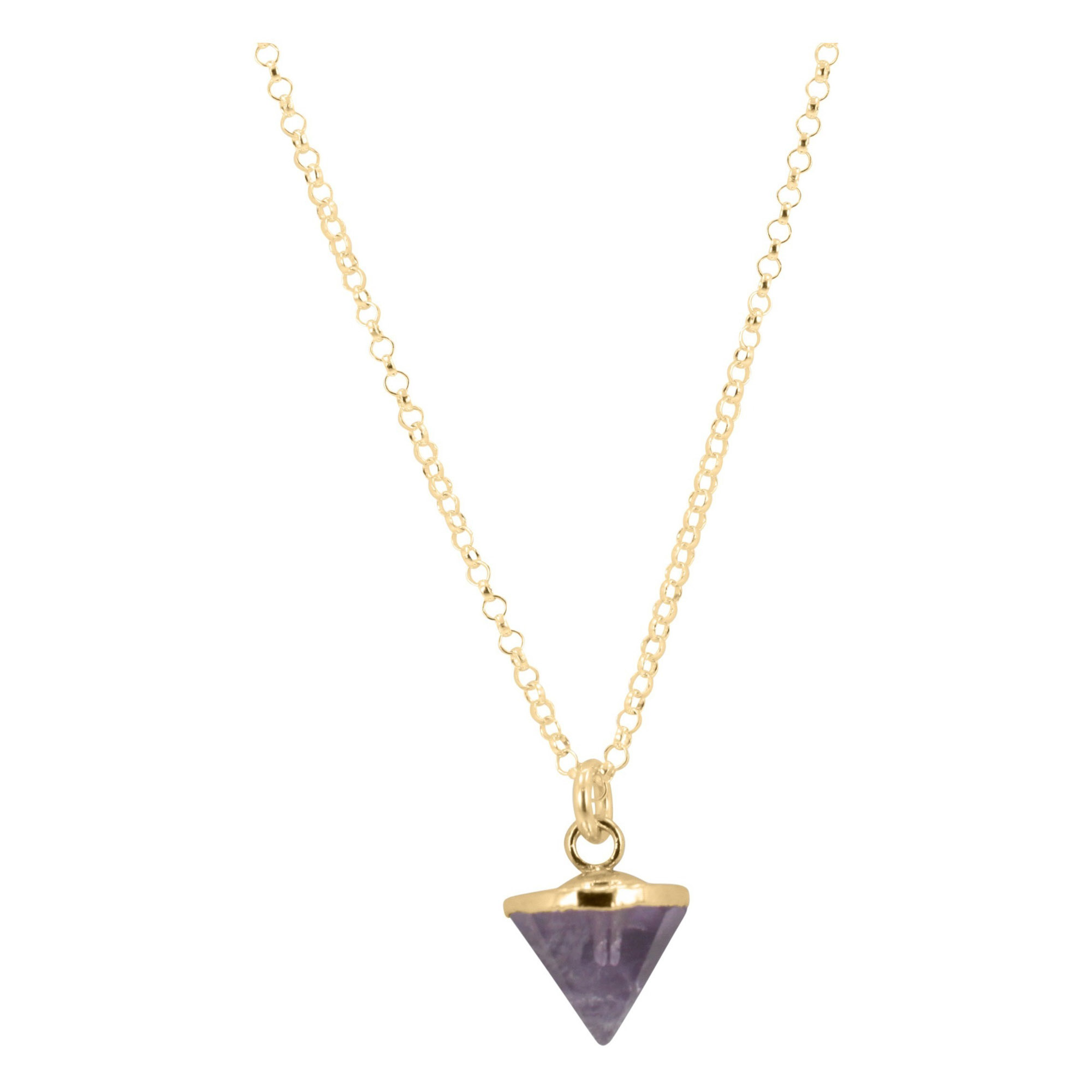 Small Gold Gem Spike Necklace on 24in. Chain, Stone Choice, #6451-yg (Blue Chalcedony) by