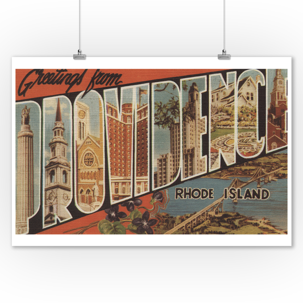 Greetings from Providence, Rhode Island (9x12 Art Print, Wall Decor Travel Poster)