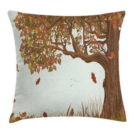 Tree Of Life Throw Pillow Cushion Cover Autumn Season Fall Shady Deciduous Oak Leaves In Park Countryside Artwork Decorative Square Accent