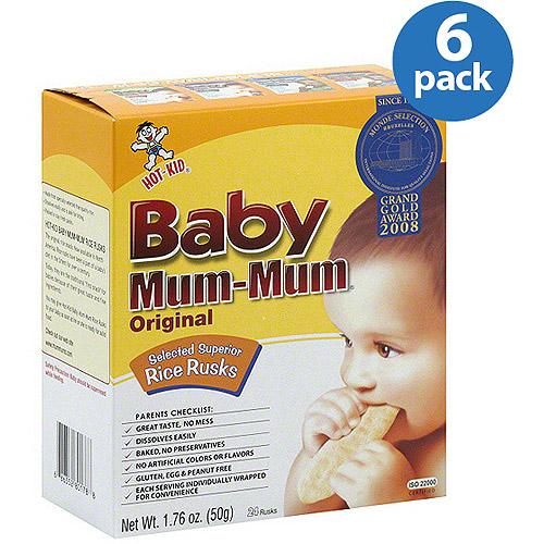 Hot Kid Baby Mum-Mum Original Rice Rusks, 1.76 oz (Pack of 6)