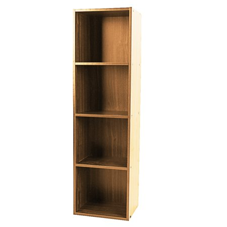 Walfront Wood Easy to Assemble 4-Shelf Wood Bookcase Storage Shelves Highland Oak