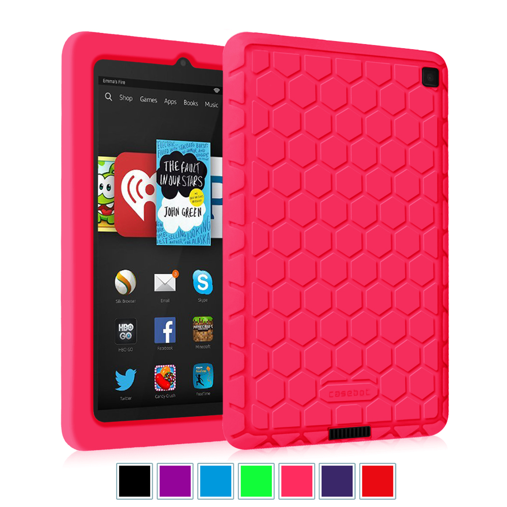 "Kindle Fire HD 6""  2014 Oct Releas Tablet Silicone Case - Fintie Kids Friendly Protective Skin Cover Shock Proof,Magente"