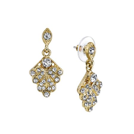1928 Jewelry Gold-Tone Crystal Pave Fan Vintage Costume Fashion Drop Earrings