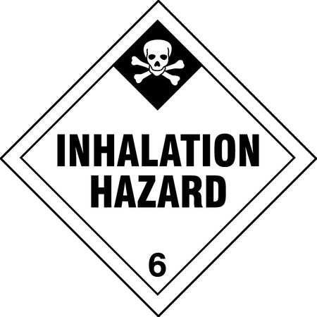 GRAINGER APPROVED Inhalation Hazard DOT Label, Class 6, Black/White, Pk100, 9WUK2