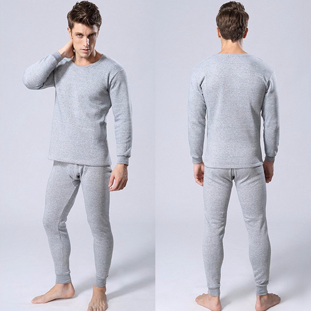 Thermal Underwear Set Winter Thicken Long Johns Men Warm 2pcs Tops Bottom Cotton by Long Underwear