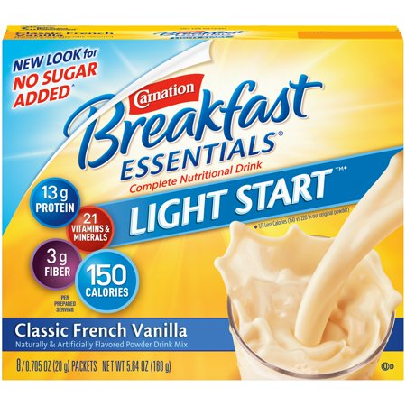 Carnation Breakfast Essentials Light Start Powder Drink Mix, French Vanilla, 0.71 oz. Packets, 8