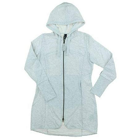 Mondetta Women's Andrea Full Zip Long Length Hooded Jacket - Light Grey Heather (Large) - Large Long Full Back Vest