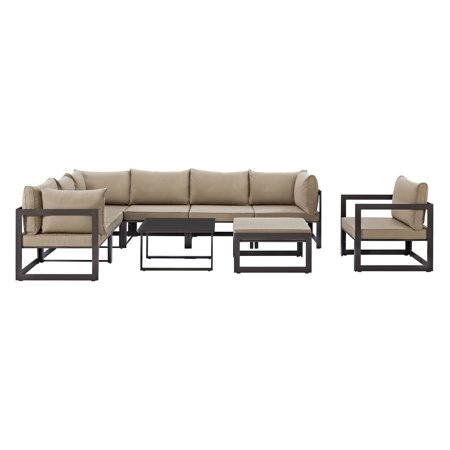 Modway Fortuna 9 Piece Outdoor Patio Sectional Sofa Set Multiple Colors