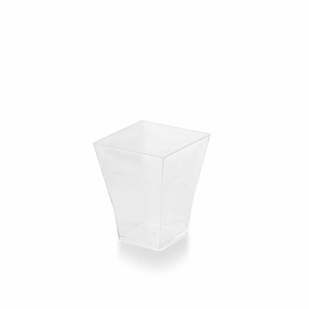 BalsaCircle Clear 24 pcs 2 oz Disposable Plastic Square Drink or Dessert Cups Glasses - Wedding Reception Buffet Catering Tableware