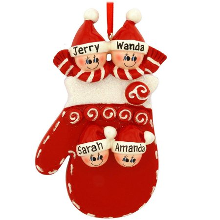 Mitten Family 4 Personalized Christmas Ornament DO-IT-YOURSELF - Mitten Ornaments