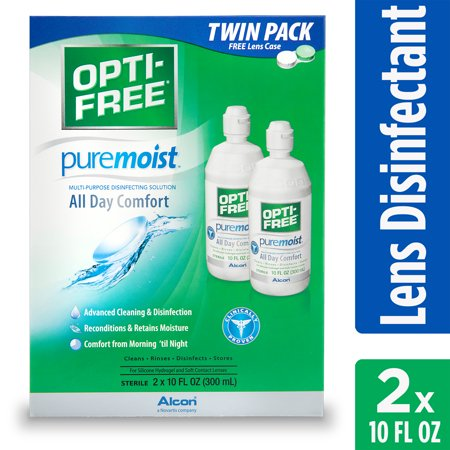 OPTI-FREE Puremoist Multipurpose Contact Lens Disinfecting Solution, 10 Fl. Oz. Twin Pack (Yellow Contact Lenses Halloween)