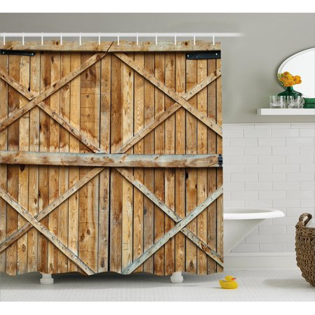 Rustic Shower Curtain, Traditional Wooden Timber Door with Vertical and Planks Farmhouse Antique Photograph, Fabric Bathroom Set with Hooks, Brown, by - Rustic Showers