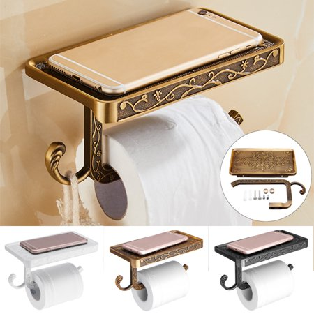 Mrosaa Stainless Steel Wall Mounted Toilet Roll Tissue Holder Bathroom Paper Holder Stand Phone (Tissue Wall)