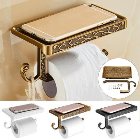 Mrosaa Stainless Steel Wall Mounted Toilet Roll Tissue Holder Bathroom Paper Holder Stand Phone Shelf