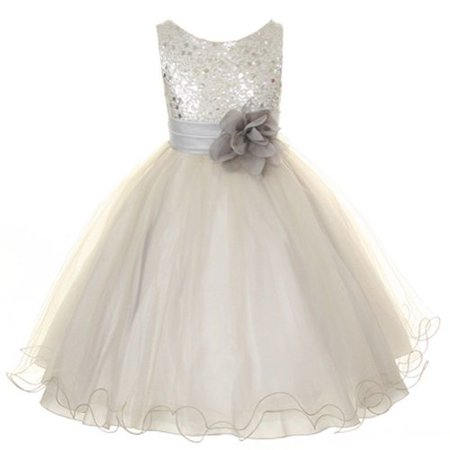 Flower Girls Dress Sequin Glitter Beaded Dress Wedding Prom Bridesmaid Silver Months) - Girls Silver Dresses