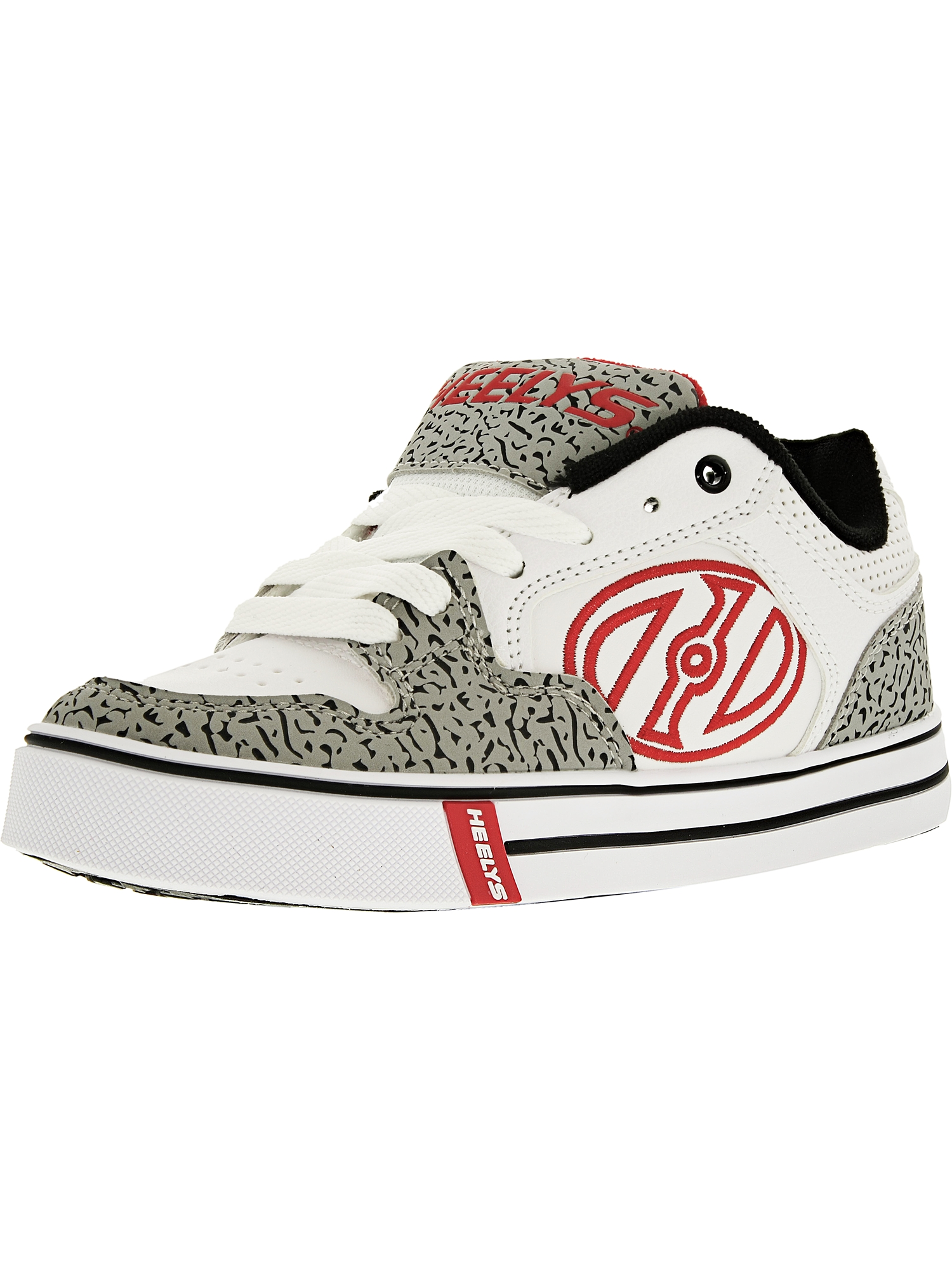Heelys Motion Plus White/Grey/Elephant Print Ankle-High Skateboarding Shoe - 1M
