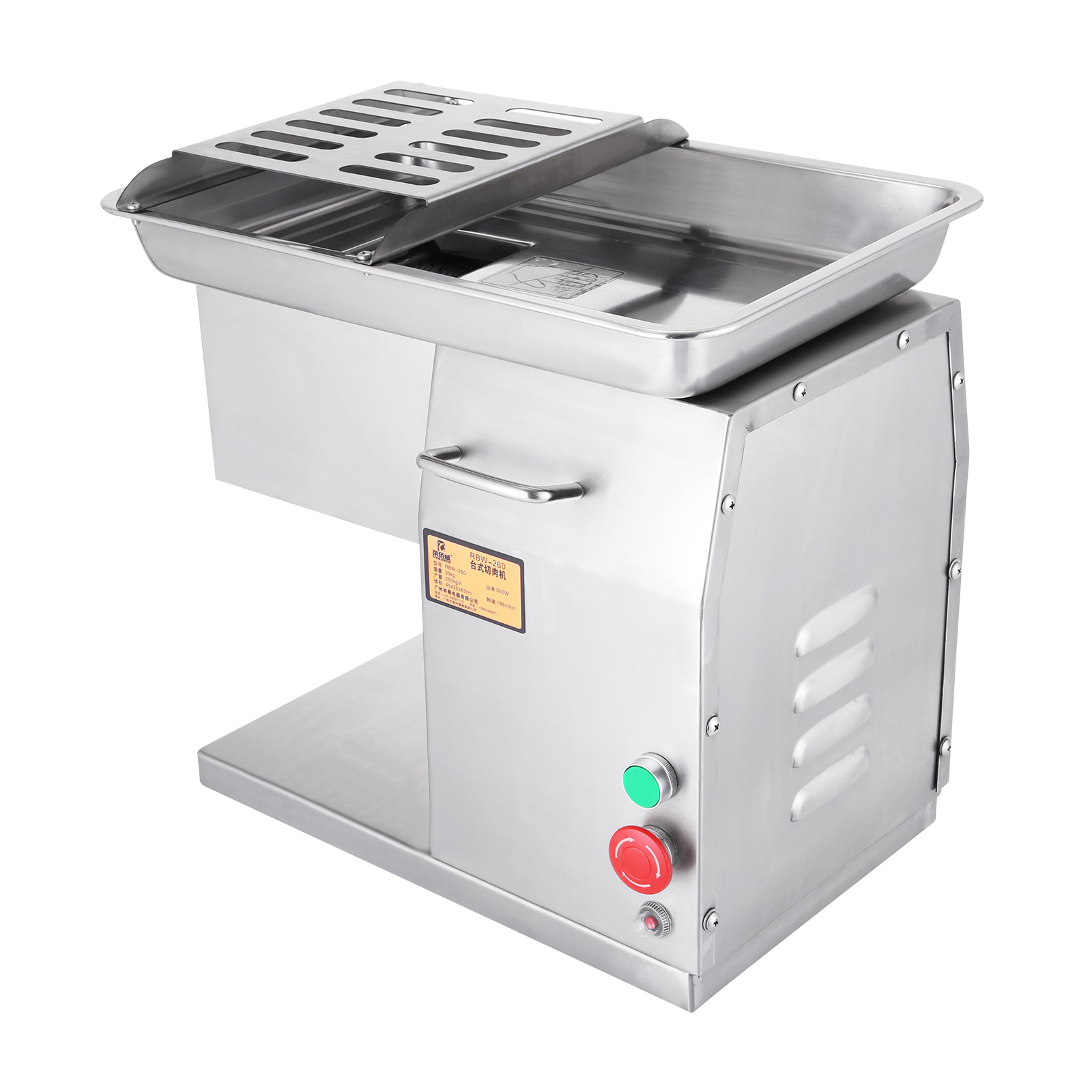 BestEquip Commercial Meat Slicer 551LB/H 550W Stainless Steel Fresh Meat Cutter Commercial Grade Restaurant Meat Processing Machine Electric Slicer 3mm Cutting Blade