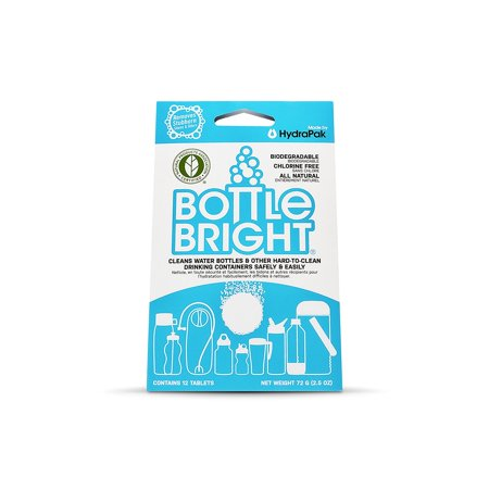 Bottle Bright Biodegradable Bottle Cleaning Tablets (12 Piece), Chlorine-Free and All Natural, Clean and Odor-Free Bottles, No scrubbing required - perfect.., By Hydrapak