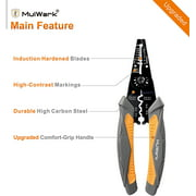 """MulWark 8"""" Heavy Duty Wire Stripper Cutter Crimper, Multi Pliers For Wire Stripping/Snips/Cable Cutting, Electrical Hvac Crimping Tool For Professional Electrician, 8 AWG to 22 AWG"""