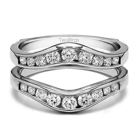 Graduated Contour Style Ring Guard in Sterling Silver (0.7ctw) ()