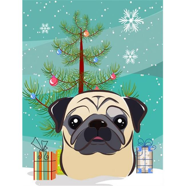Christmas Tree And Fawn Pug Flag Canvas House Size - image 1 de 1