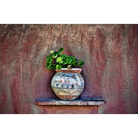 New Mexican Wall Sconces New Mexico Rustic Detail Of Potted Plant Against Adobe Wall Canvas Art - Ray Laskowitz  Design Pics (17 x 11) ()