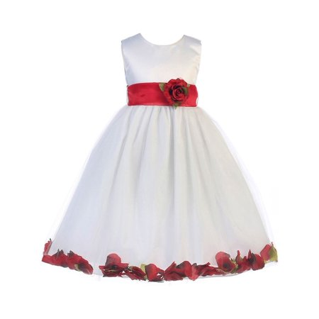 Crayon Kids Little Girls White Red Petal Flower Girl Dress 4T