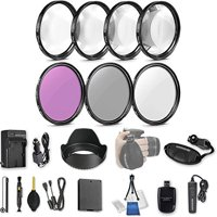 58mm 21 Pc Accessory Kit for Canon EOS Rebel T6, T5, T3, 1300D, 1200D, 1100D DSLRs with UV CPL FLD Filters, & 4 Piece Macro Close-Up Set, Battery, and More